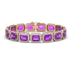 34.86 ctw Amethyst & Diamond Micro Pave Halo Bracelet 10K Rose Gold