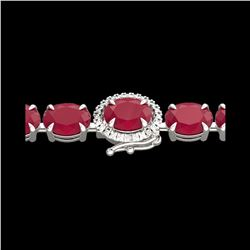 37 ctw Ruby & VS/SI Diamond Eternity Micro Bracelet 14K White Gold