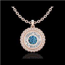 2.11 ctw Fancy Intense Blue Diamond Art Deco Necklace 18K Rose Gold