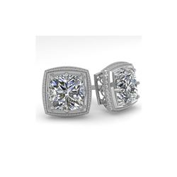 1.0 ctw VS/SI Cushion Cut Diamond Stud Earrings Art Deco 18K White Gold