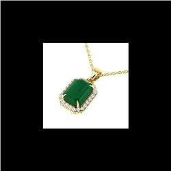 5.50 ctw Emerald & Micro Pave VS/SI Diamond Necklace 18K Yellow Gold