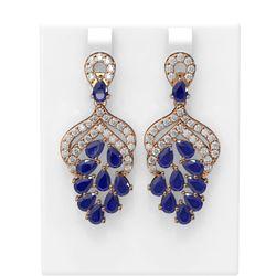 13.02 ctw Sapphire & Diamond Earrings 18K Rose Gold