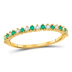 10kt Yellow Gold Round Emerald Modern Alternating Stackable Band Ring 1/5 Cttw