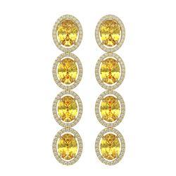 12.62 ctw Fancy Citrine & Diamond Micro Pave Halo Earrings 10K Yellow Gold