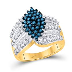 10kt Yellow Gold Round Blue Color Enhanced Diamond Elevated Oval Cluster Ring 1.00 Cttw