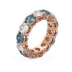 7.28 ctw Intense Blue Diamond Ring 18K Rose Gold