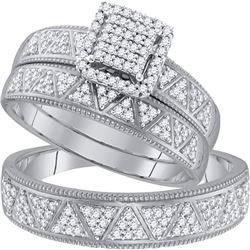 10kt White Gold His & Hers Round Diamond Square Cluster Matching Bridal Wedding Ring Band Set 1/2 Ct
