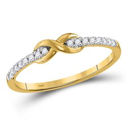 10kt Yellow Gold Round Diamond Infinity Knot Stackable Ring 1/10 Cttw