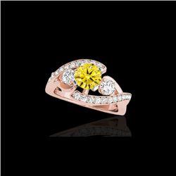 2.26 ctw Certified SI Intense Yellow Diamond Bypass Ring 10K Rose Gold