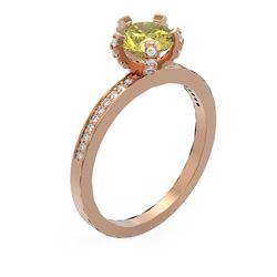 1.35 ctw Fancy Yellow Diamond Ring 18K Rose Gold