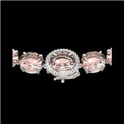148 ctw Morganite & VS/SI Diamond Halo Micro Necklace 14K White Gold