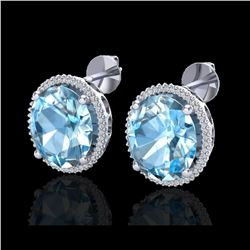 25 ctw Sky Blue Topaz & Micro VS/SI Diamond Earrings 18K White Gold