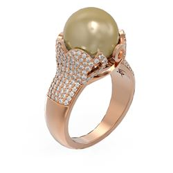 1.55 ctw Diamond and Pearl Ring 18K Rose Gold