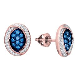 10kt Rose Gold Round Blue Color Enhanced Diamond Oval Cluster Earrings 1/3 Cttw