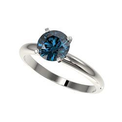 1.55 ctw Certified Intense Blue Diamond Engagement Ring 10K White Gold