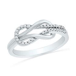 10kt White Gold Round Diamond Double Lasso Infinity Ring 1/6 Cttw