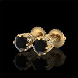 1.75 ctw Fancy Black Diamond Art Deco Stud Earrings 18K Yellow Gold