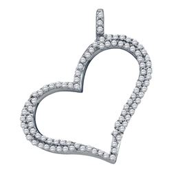 10kt White Gold Round Diamond Outline Heart Pendant 1/3 Cttw