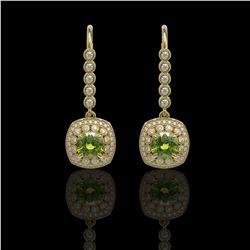 4.5 ctw Tourmaline & Diamond Victorian Earrings 14K Yellow Gold