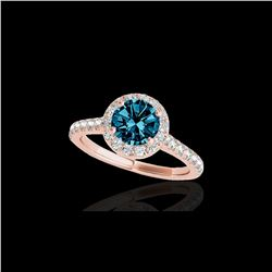 1.4 ctw SI Certified Fancy Blue Diamond Solitaire Halo Ring 10K Rose Gold