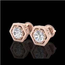 1.07 ctw VS/SI Diamond Solitaire Art Deco Stud Earrings 18K Rose Gold