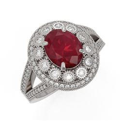 4.55 ctw Certified Ruby & Diamond Victorian Ring 14K White Gold