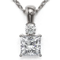 0.6 ctw Princess Cut Diamond Designer Necklace 18K White Gold