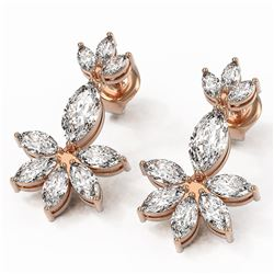 5.08 ctw Marquise Diamond Earrings 18K Rose Gold