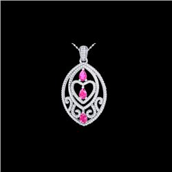 3.50 ctw Pink Sapphire & Micro Diamond Heart Necklace 18K White Gold