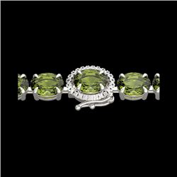 17.25 ctw Green Tourmaline & VS/SI Diamond Micro Bracelet 14K White Gold
