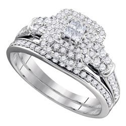 14kt White Gold Princess Diamond Bridal Wedding Engagement Ring Band Set 3/4 Cttw