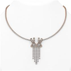 26 ctw Pear Diamond Designer Necklace 18K Rose Gold