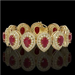 56.04 ctw Certified Ruby & Diamond Victorian Bracelet 14K Yellow Gold