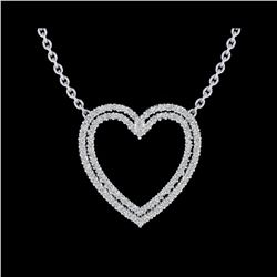 2 ctw VS/SI Diamond Heart Halo Designer Necklace 14K White Gold