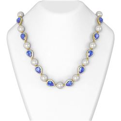 47.95 ctw Tanzanite & Diamond Necklace 18K Yellow Gold