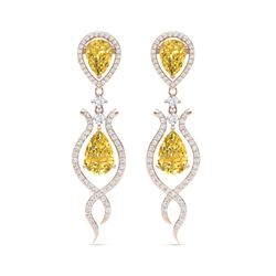 14.09 ctw Canary Citrine & VS Diamond Earrings 18K Rose Gold