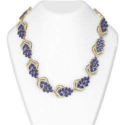 74.37 ctw Sapphire & Diamond Necklace 18K Yellow Gold