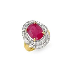 5.75 ctw Ruby & Diamond Ring 14K Yellow Gold