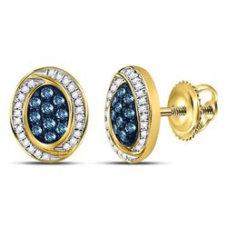10kt Yellow Gold Round Blue Color Enhanced Diamond Oval Cluster Earrings 1/3 Cttw