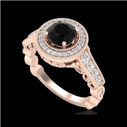 1.12 ctw Fancy Black Diamond Engagement Art Deco Ring 18K Rose Gold
