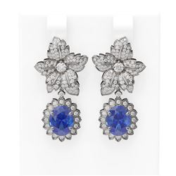 9.3 ctw Tanzanite & Diamond Earrings 18K White Gold