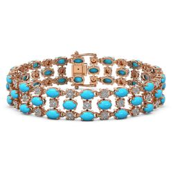 11.86 ctw Turquoise & Diamond Row Bracelet 10K Rose Gold