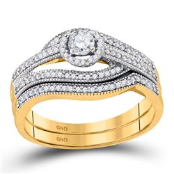 10kt Yellow Gold Round Diamond Halo Bridal Wedding Engagement Ring Band Set 3/8 Cttw