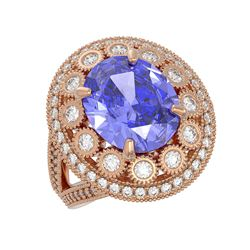 6.96 ctw Certified Tanzanite & Diamond Victorian Ring 14K Rose Gold