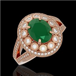 4.55 ctw Certified Emerald & Diamond Victorian Ring 14K Rose Gold