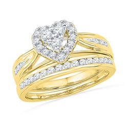 10kt Yellow Gold Round Diamond Heart Bridal Wedding Engagement Ring Band Set 1/2 Cttw