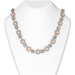 45.47 ctw Aquamarine & Diamond Necklace 18K Rose Gold