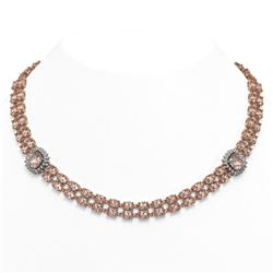 66.8 ctw Morganite & Diamond Necklace 14K Rose Gold