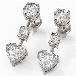 3.5 ctw Heart Diamond Designer Earrings 18K White Gold
