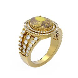 4.89 ctw Canary Citrine & Diamond Ring 18K Yellow Gold